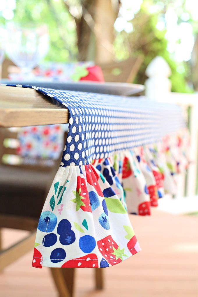 Learn how to sew a ruffle tablecloth with this easy tutorial (lots of pictures!) | @kimbyers TheCelebrationShoppe.com for @joann_stores #handmadewithJoAnn #ad
