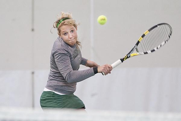 Abby Vohask in singles play Feb. 25, 2012 vs. Augustana.
