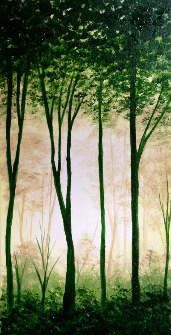 "Original artwork ""Lost"" Acrylic on Canvas - Green lush forest - nature painting - Trees - Art by J Newell"
