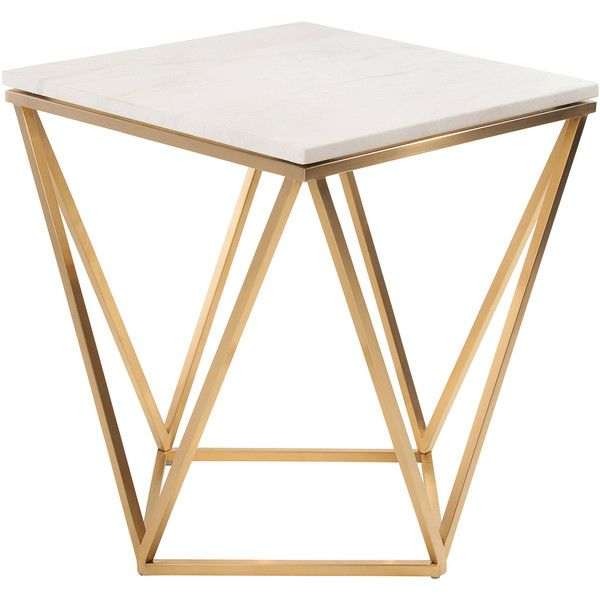 Nuevo Jasmine White Marble and Gold Stainless Steel Side Table (£455) ❤ liked on Polyvore featuring home, furniture, tables and accent tables