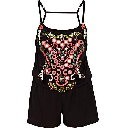 Black Pacha tribal backless playsuit - pacha - swimwear / beachwear - women