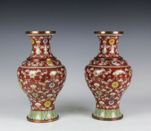PAIR-OF-CHINESE-CLOISONNE-VASES-WITH-INTRICATE-DESIGN-OF-FLOWERS-ON-CORAL-GROUND