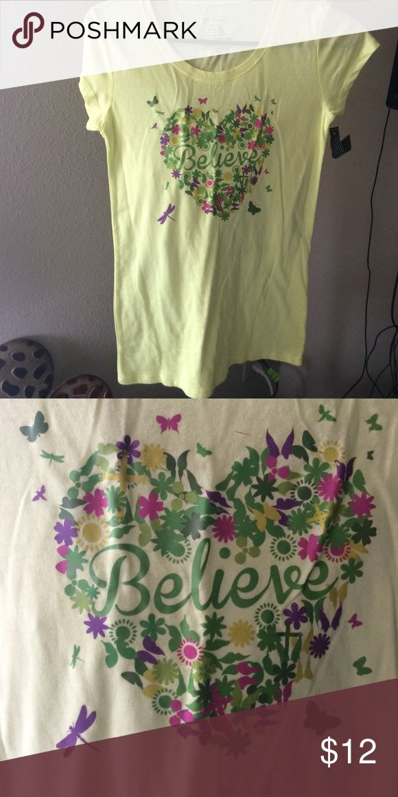 Women's believe T-shirt Very pretty yellow women's T-shirt size small with design believe shea boutique Tops Tees - Short Sleeve