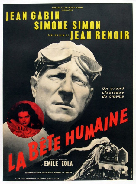 Film français réalisé par Jean Renoir, sorti en 1938, adaptation du roman éponyme d'Émile Zola. Jacques Lantier est victime de pulsions meurtrières. Il ne se trouve bien qu'en compagnie de son chauffeur Pecqueux sur La Lison, la locomotive à vapeur avec lesquels il fait la ligne Paris - Le Havre. Pour son malheur, il rencontre Séverine dont le mari Roubaud, sous-chef de gare du Havre, vient d'assassiner
