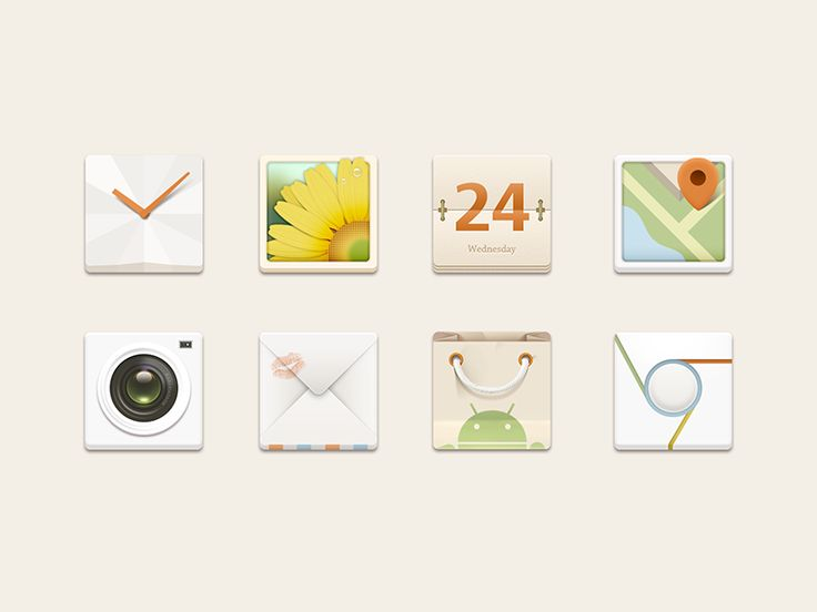 Android Icons by Alex Wong, via dribbble.