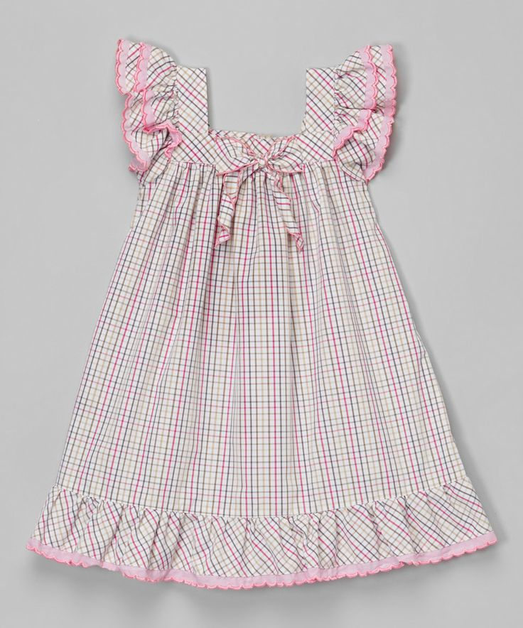 Love this Lavender Gingham Angel-Sleeve Dress - Infant & Toddler by Les Petits Soleils by Fantaisie Kids on #zulily! #zulilyfinds