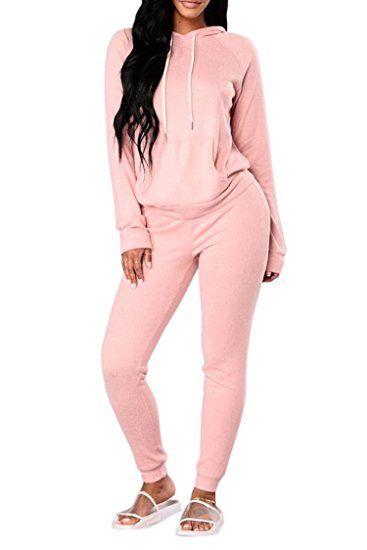 02ebfa158 Fixmatti Women 2PC Hooded Front Pocket Sweater Sweatpants Sport Tracksuit  at Amazon Women s Clothing store