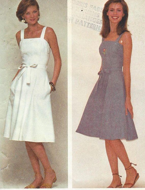 80s Womens Sundress or Jumper Back Wrap Dress A Line Skirt  097c73d90