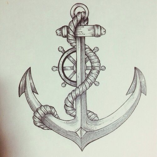 anchor helm drawing art anchor compass pinterest. Black Bedroom Furniture Sets. Home Design Ideas