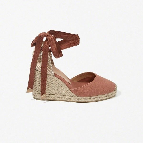 Abercrombie & Fitch Castaner Carina Wedges ($118) ❤ liked on Polyvore featuring shoes, dark red, dark red shoes, closed toe shoes, closed toe espadrilles, wedge espadrilles and lace up wedge espadrilles