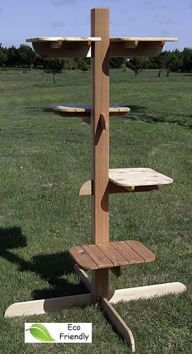 Elegant RUSTIC CEDAR OUTDOOR CAT TREE 4 LEVEL/5 SHELVES