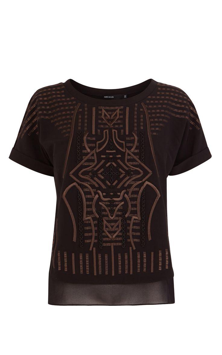 Graphic embroidery top   Luxury Women's shop_all   Karen Millen