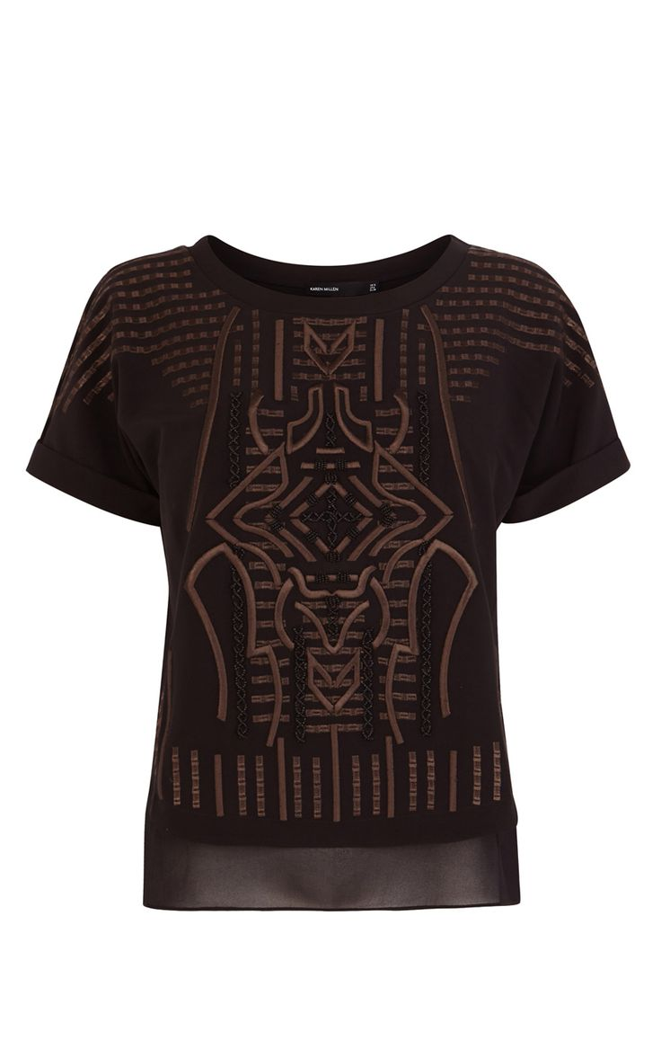 Graphic embroidery top | Luxury Women's shop_all | Karen Millen