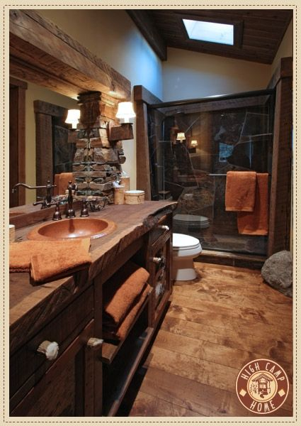 17 best images about log homes on pinterest log cabin for Rustic master bathroom designs