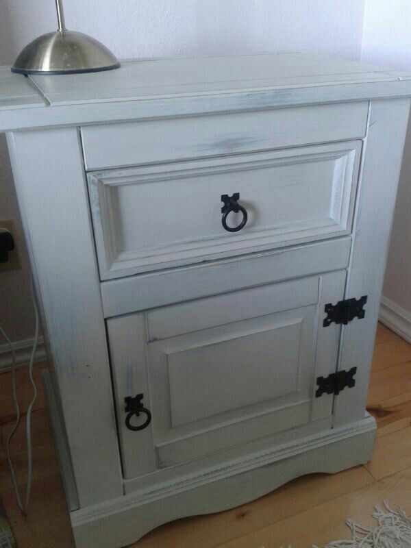 Mexican pine bedside cabinet transformed