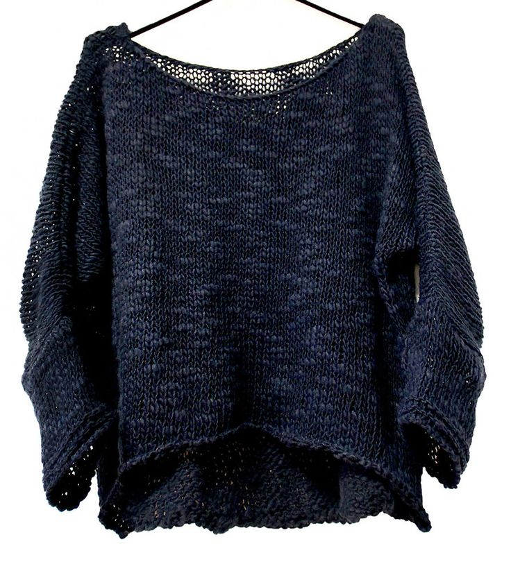 LÄSSIGER GROBSTRICK PULLOVER SLOUCHY LOOSE KNIT OVERSIZED 40 42 44 46 Italy blau