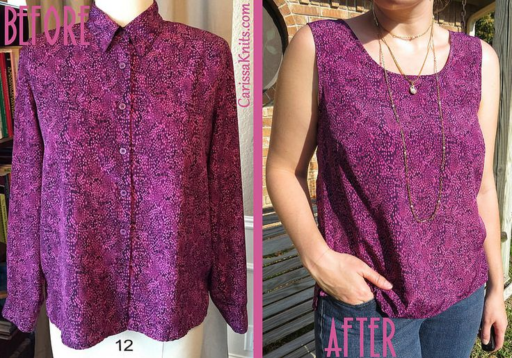 Disco Tank - Blouse Refashion by CarissaKnits