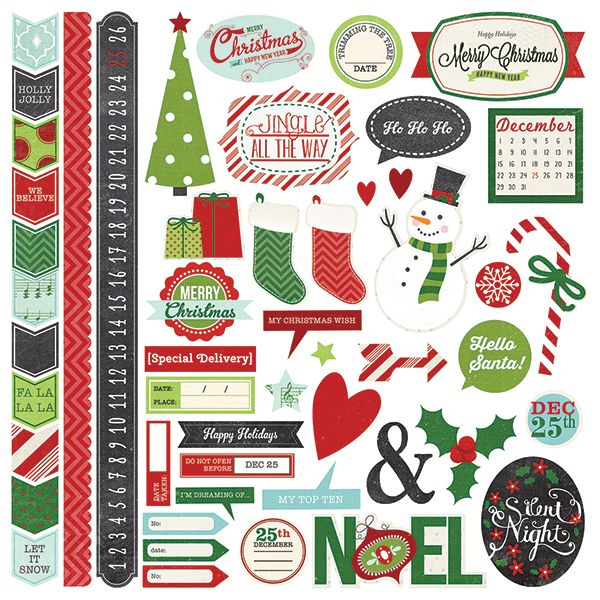 Simple Stories - December Documented Collection - Christmas - 12 x 12 Cardstock Stickers - Fundamentals at Scrapbook.com