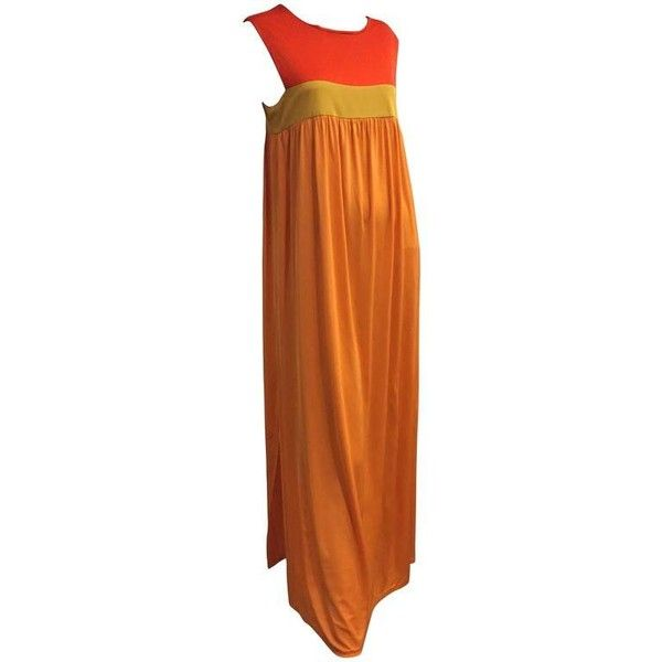 Preowned 1960s Emilio Pucci Persimmon Chartreuse & Tangerine... ($1,500) ❤ liked on Polyvore featuring dresses, gowns, evening gowns, orange, evening maxi dresses, jersey maxi dresses, orange maxi dress, silk gown and orange jersey