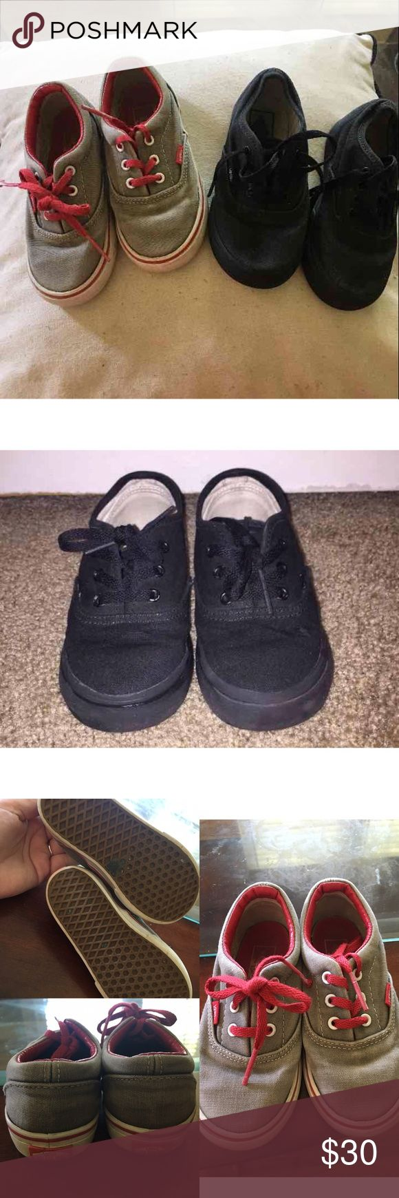 2 pairs of Vans I BUNDLE & OPEN TO OFFERS. Black Vans are in Great Condition, just normal wear of a 3 year old. The other pair are in an okay/good condition, they've had a lot of wear, but are still very cute and in great condition. Both are size 8. I do want to sale together, I'm pretty much throwing the gray pair in this bundle for free, considering I paid $50 for the black pair. Vans Shoes Sneakers