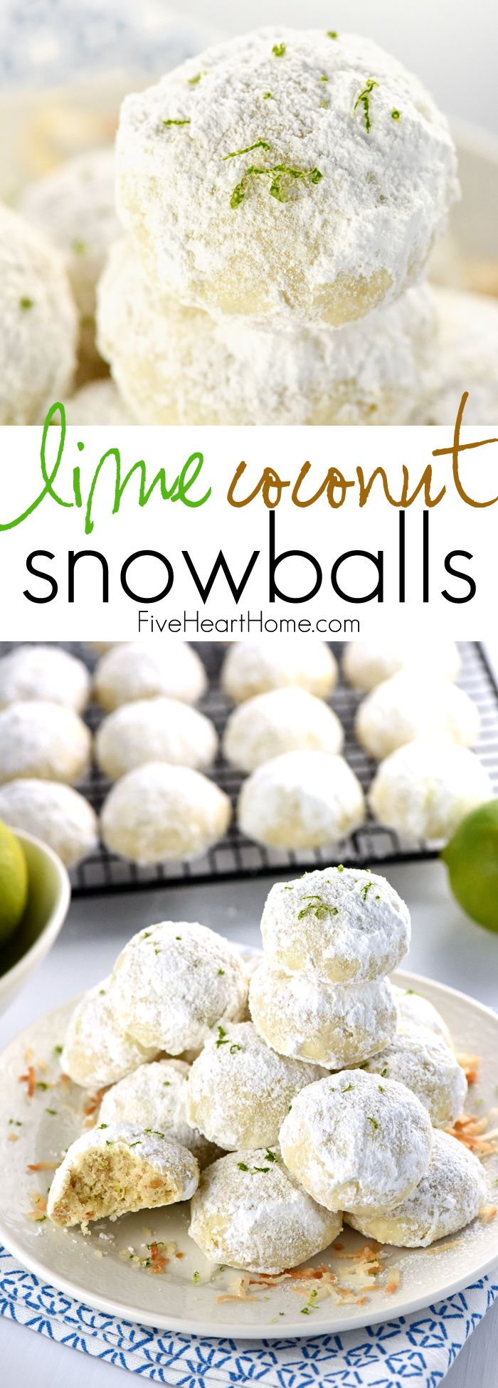 Lime Coconut Snowballs ~ tender shortbread-like cookies studded with lime zest & toasted coconut and generously rolled in powdered sugar for perfect year-round treats...from the lazy days of summer to a Christmas cookie platter! | FiveHeartHome.com