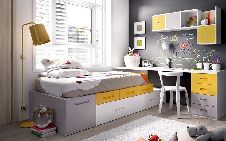Dormitorio Juvenil. Con gran capacidad. Dormitorios pequeños. Muy actual.