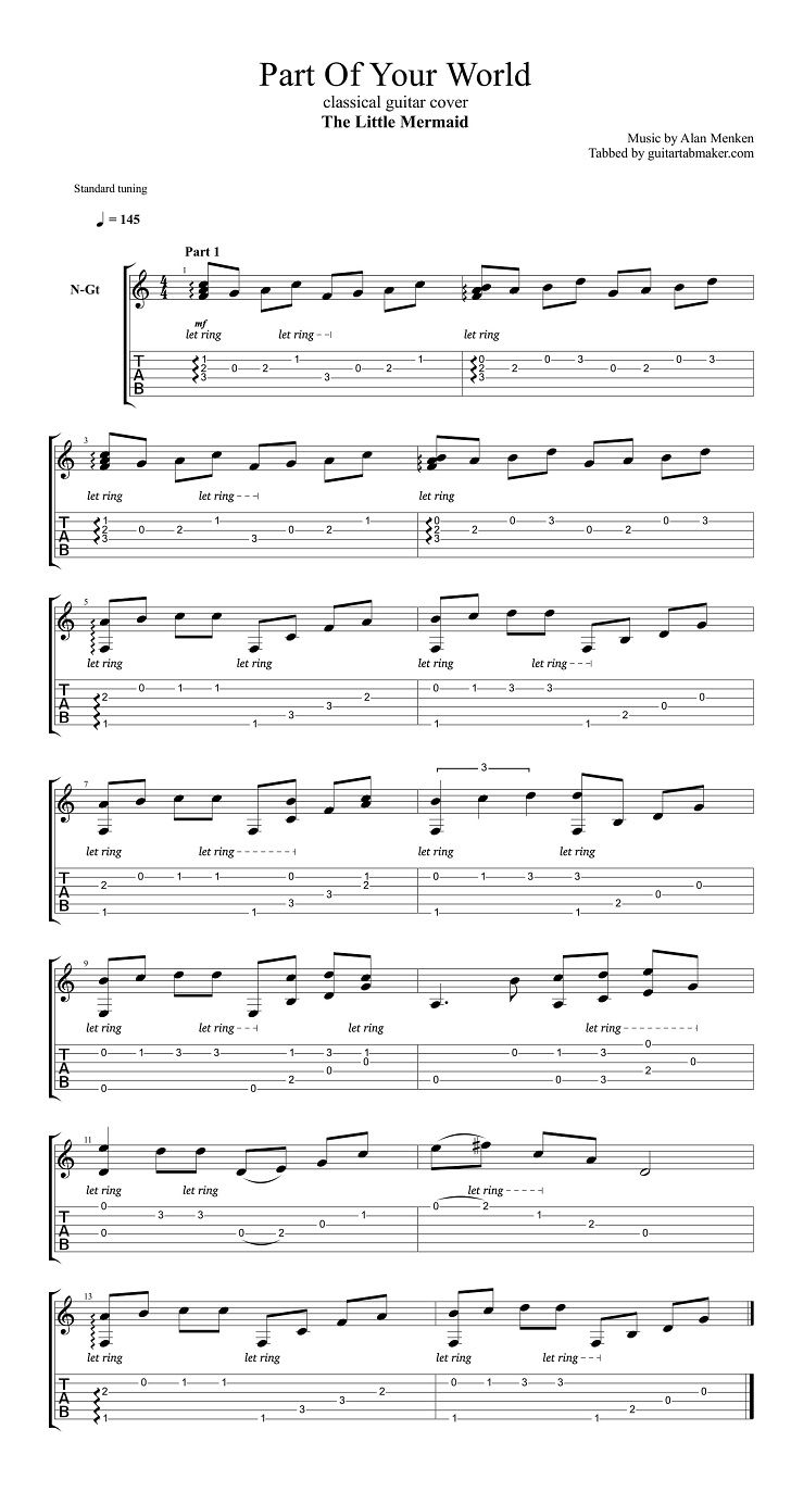 The Little Mermaid - Part of Your World fingerstyle classical guitar tab - pdf guitar sheet music - guitar pro tab download