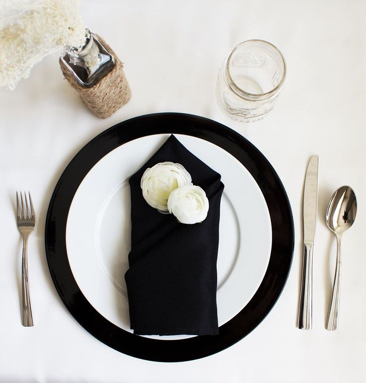 Neutral yet bold #table setting featuring our Black #Chargers and Polyester #Napkins & 59 best Place Setting Styles images on Pinterest | Table decorations ...