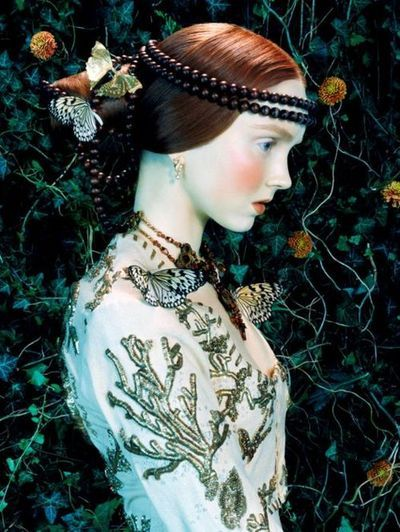 Lily Cole in Roberto Cavalli, Spring 2005. Photographed by Miles Aldridge for Vogue Italia ('Like a Painting'), February 2005.