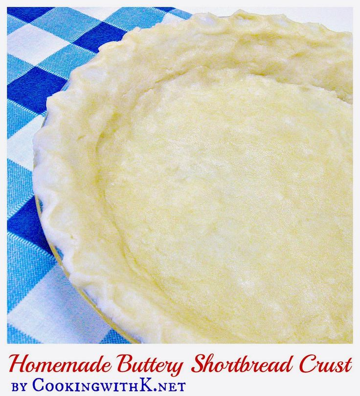 Easy Homemade Buttery Shortbread Crust is made with your hands and not a rolling pin.  Melt the butter in a pie plate and add rest of the ingredients and mix.  Using your hands pat dough around the pie plate into a crust.  Taste just like a shortbread cookie.  Perfect for cream pies.