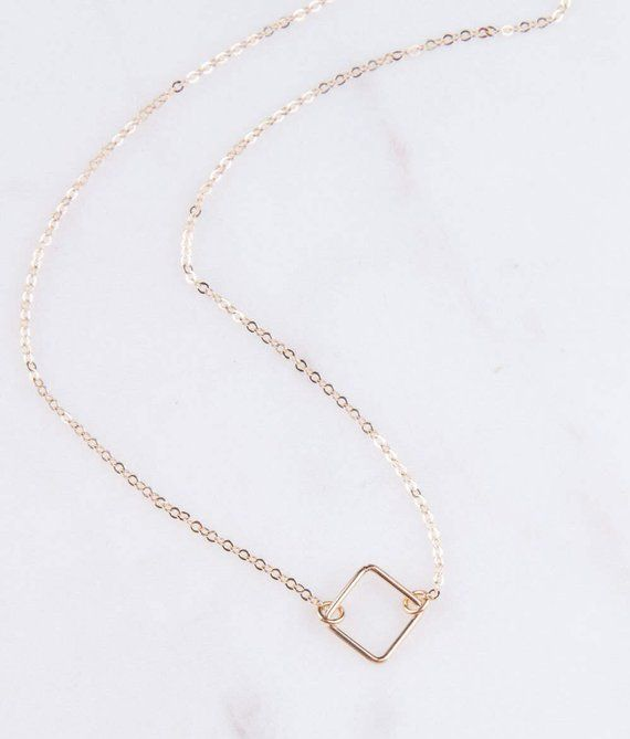 a7fbe079ab9c6 Choker Necklace, Square Diamond Choker Necklace, Dainty Choker ...