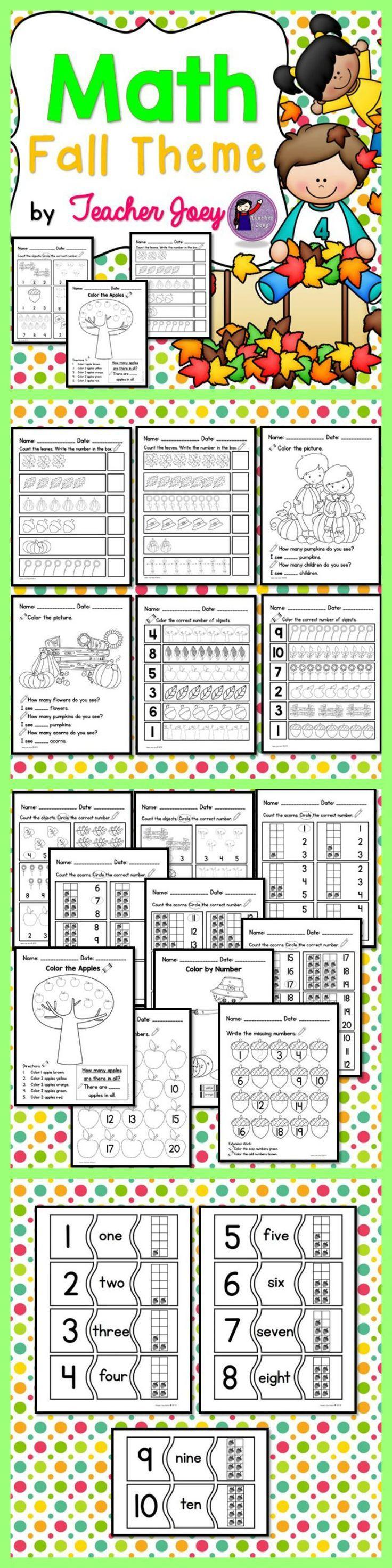 Fall Math Math Activities for Pre-K to Grade One #teacherspayteachers #number