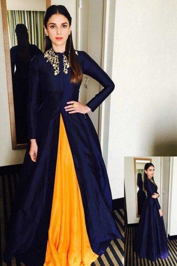 d3801150b Buy Bestseller Latest Designer Navy and mustard Taffeta Gown - DMV14996 for women  online #Designergown #Navymustard #taffetagown #partywear … | dresses ...