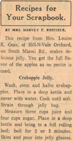 Crabapple Jelly Recipe – Vintage Clipping