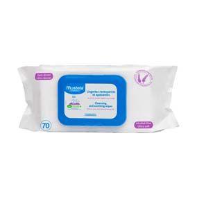 Mustela Toallitas húmedas para la colita. 70 unidades . para prevenir y atenuar a diario las rojeces en la colita del bebe en cada cambio de pañal. sin parabenos, sin ftalatos, sin fenoxietanol.