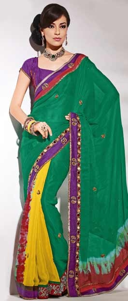 Green Faux Georgette Saree | $112.50