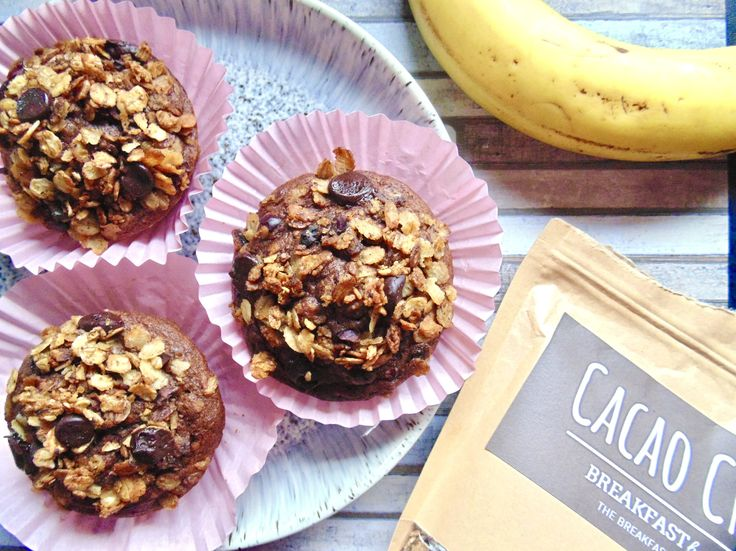 Fluffy and sweet Double Chocolate Banana Crunch Muffins, full of creamy chocolate chips and topped with Breakfast By Bella's crunchy Cacao Crazy granola! http://maverickbaking.com/breakfast-by-bella-review/