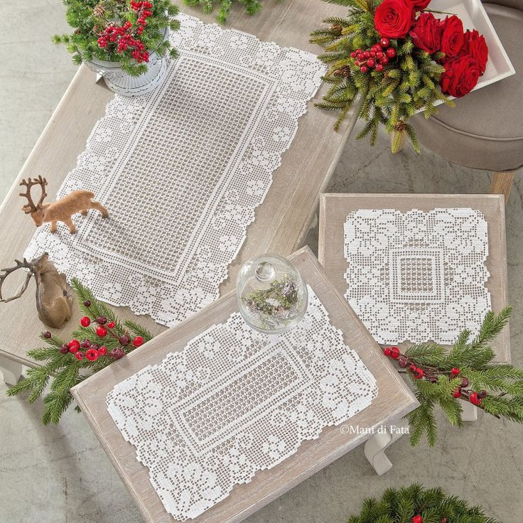 Schema per fare 3 centri rettangolari ad uncinetto filet danteller crochet lace edging - Centri per camera da letto ...