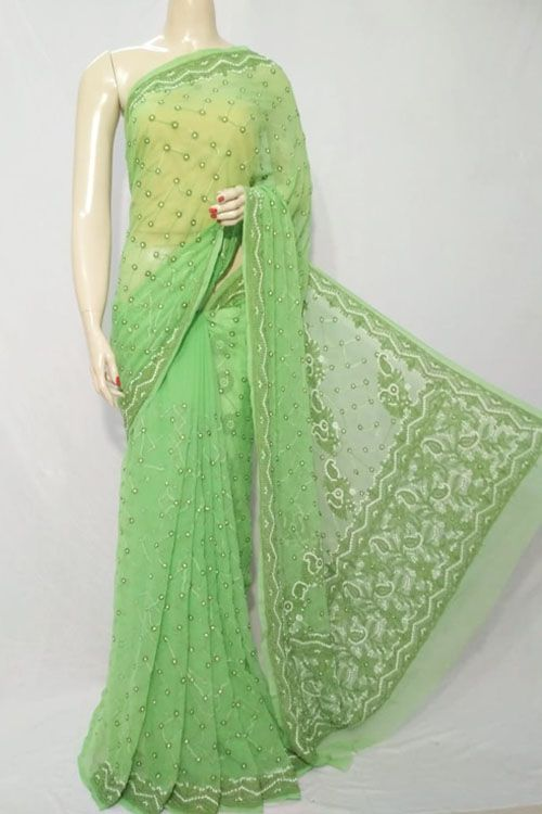 ef55535563dd16 Green Color Hand Embroidered Lucknowi Chikankari Saree (With Blouse -  Georgette) 71120