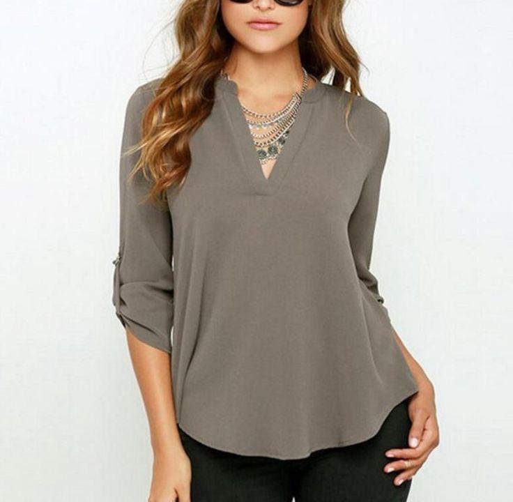 Moderní dámská volná košile s V výstřihem šedá – Velikost L Na tento produkt se vztahuje nejen zajímavá sleva, ale také poštovné zdarma! Využij této výhodné nabídky a ušetři na poštovném, stejně jako to udělalo …