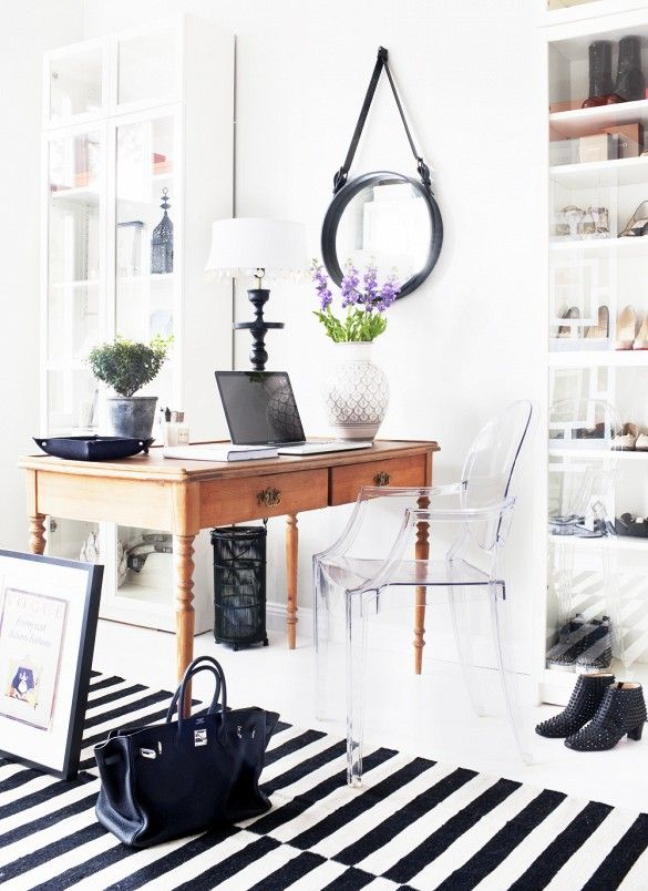 10 Tips for Creating the Ultimate At-Home Office// Stockholm rug, ghost chair, shoe storage, office design