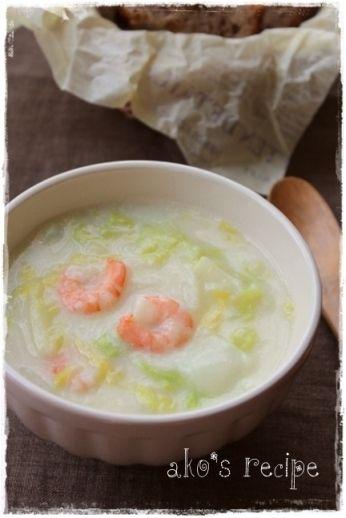 うれしい成分たっぷり!白菜と海老のとろりん豆乳スープ