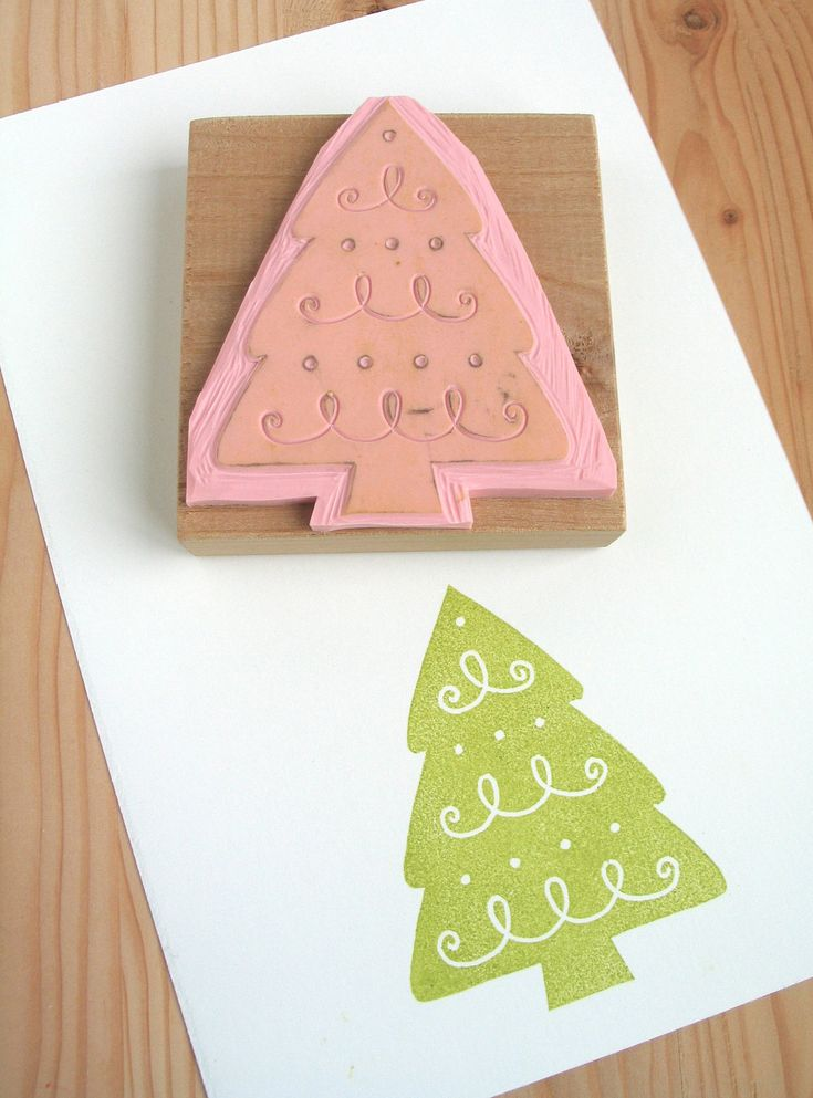 Christmas tree hand carved rubber stamp