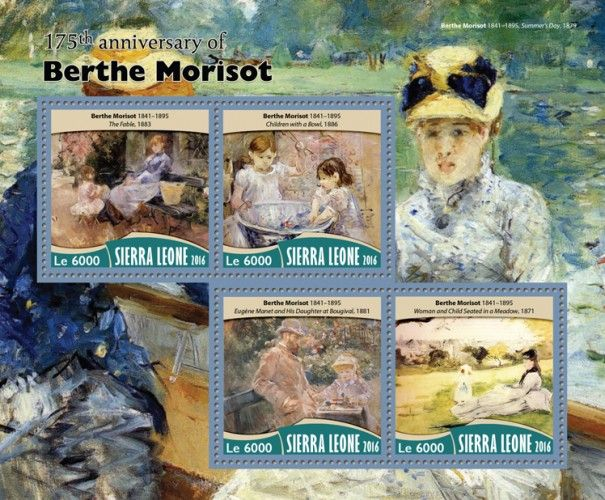 """SRL16717a 175th anniversary of Berthe Morisot (Berthe Morisot (1841–1895) """"The Fable"""", 1883; """"Children with a Bowl"""", 1886; """"Eugène Manet and His Daughter at Bougival"""", 1881; """"Woman and Child Seated in a Meadow"""", 1871)"""