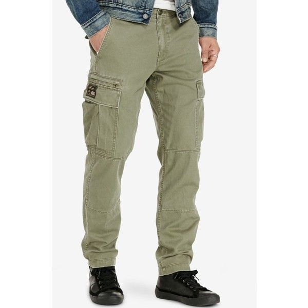 Denim & Supply Ralph Lauren Men's Slim-Fit Chino Cargo Pants ($90) ❤ liked on Polyvore featuring men's fashion, men's clothing, men's pants, men's casual pants, olive, mens slim fit chino pants, mens slim pants, mens olive pants, mens slim fit cargo pants and mens olive green cargo pants