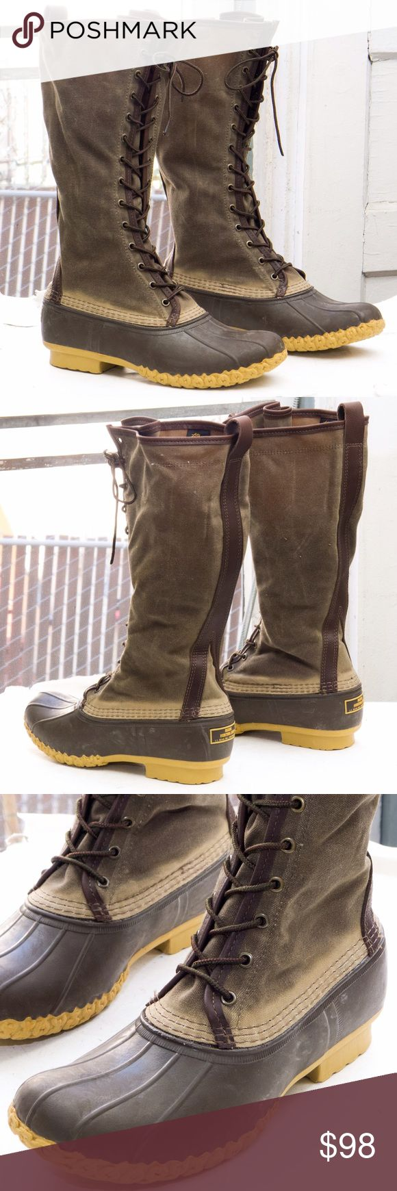 "LL Bean duck boot, waxed canvas/Maine hunting shoe Out of stock and hard to find!             16"" height. Rugged waxed canvas upper. Iconic rubber chain-tread bottom. Made in USA.                  Perfect condition! New and unworn. L.L. Bean Shoes Lace Up Boots"