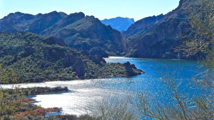 "Superstition Mountains ""Flatiron"" from  Saguaro Lake"