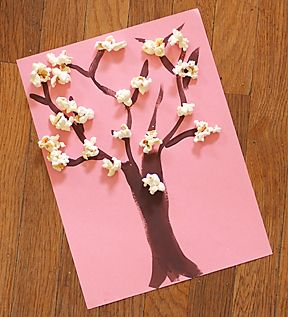 fun little Spring art project... and yummy too :) - cute & you could add a little pink food coloring to the pot when popping the popcorn for pink cherry blossoms.