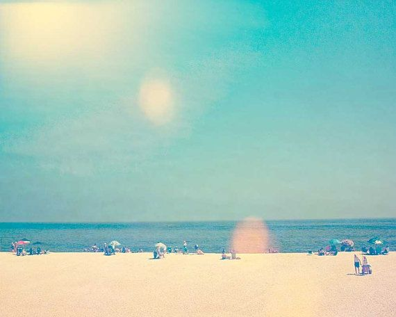 Ocean photography, beach photo, seaside print pink sand blue sky shore scene fine art photograph - Shoot Into The Light - 8x10