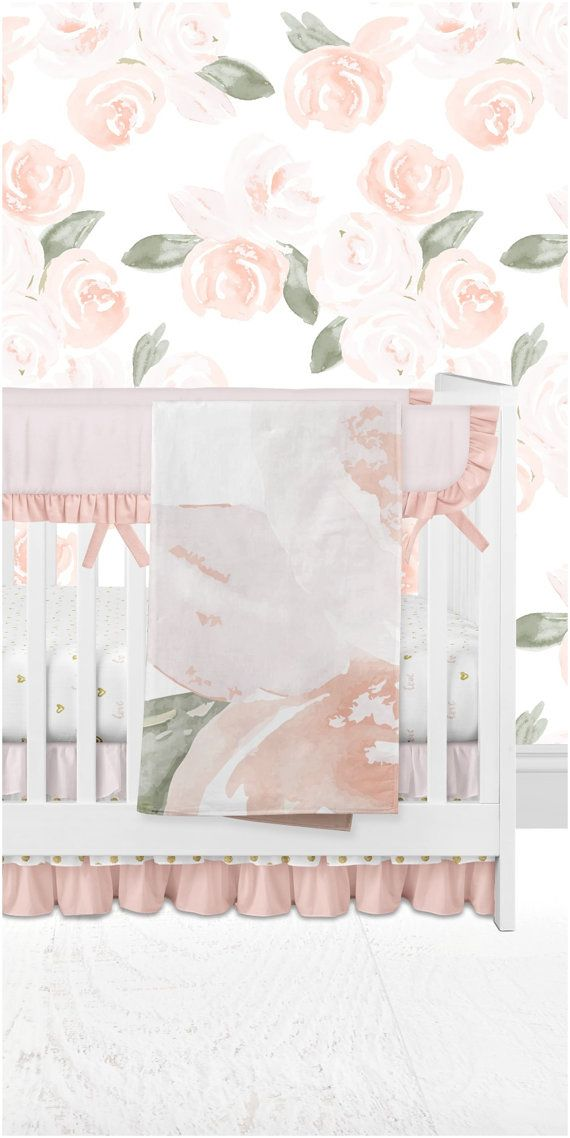 Soft watercolor floral crib bedding and removable wallpaper, amazing for any nursery with soft pink, peach, salmon and gold!